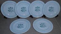 Set (6) Booths Blue Mist CANTERBURY - GREEN PATTERN Dessert/B&B Plates ENGLAND