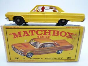 VINTAGE MATCHBOX LESNEY No.20c CHEVROLET IMPALA TAXI IN ORIGINAL BOX ISSUED 1965