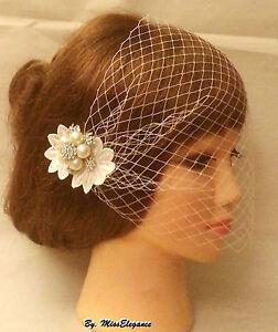 Boho Gatsby Wedding Lace Flower Crystal Hair Clip Bridal Blusher Birdcage Veil