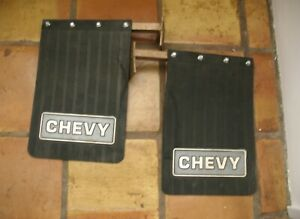 B27 - VINTAGE PAIR OF CHEVY MUD FLAPS SPLASH GUARDS WITH MOUNTS, NEVER MOUNTED!