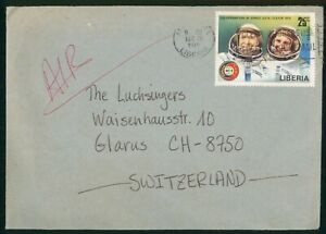 MayfairStamps Cover Liberia 1975 Co-operation in Space to Glarus Switzerland wwp