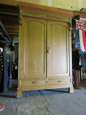 Large French antique armoire wardrobe Circa 1900 w carved lions heads decoration