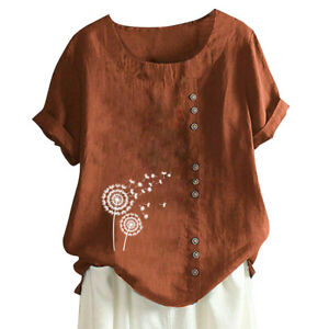 Ladies Loose T-Shirt Tunic Short Sleeve Round Neck Tee Top Casual Shirt Blouse