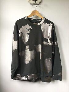 Gorgeous Ladies Cos Grey & Silver Patterned Sweatshirt, UK Size Medium, Very Goo
