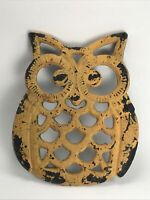 Distressed Yellow Painted Cast Iron Owl Footed Trivet