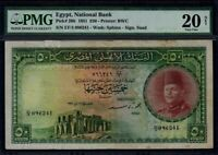 Egypt:P-26b,50 Pounds,1951 * King Farouk * PMG VF 20 Net *
