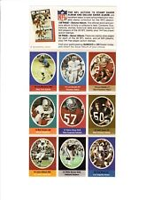 1972 Sunoco Football Stamps (9 Stamps) Bob Griese Dolphins