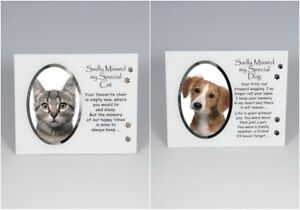 MEMORIAL CAT DOG PHOTO FRAME MIRROR GIFT BOXED PRESENT PLAQUE MEMORY PET LOSS