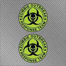 2x Green Zombie Outbreak Response Team Decals Die Cut Sticker hunting US