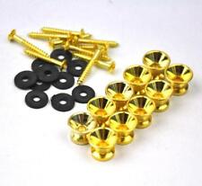 10 Sets Gold Guitar Strap Nail Pins Lock Button + Screw + Rubber Washer