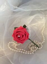 CORAL FOAM ROSE BUTTONHOLE ARTIFICIAL SINGLE FLOWER - WEDDINGS