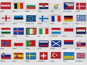 New Europe countries Flags Iron-On & Sew-On Cloth Patch Badge UK SELLER