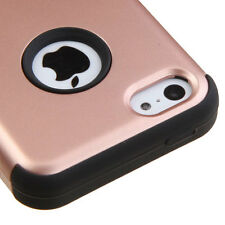 For iPHONE 5C - HARD & SOFT RUBBER HYBRID SHOCKPROOF CASE COVER ROSE GOLD BLACK
