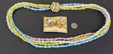 Vintage NAPIER 1950s Multi-Colored 4 Strand Art Glass Necklace Earrings Set NOS!