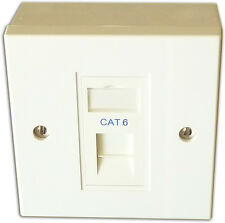 1 Way SIngle LAN RJ45 Gigabit Ethernet Network Faceplate, Backbox & Cat 6 Module