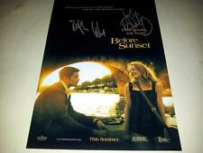 "Before Sunset Cast X2 Pp Signed 12""X8"" Poster Julie Delphi & Ethan Hawk"
