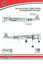 Owl Decals 1/48 HEINKEL He-219A-0 Night Fighter Nachtjagdstaffel Norwegen