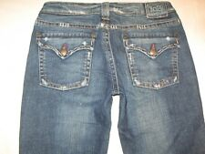 1921 Denim Jeans Low Flare Dark Distressed Flap Pocs Sz 26-27 Nice !!