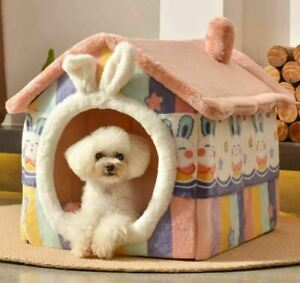 Cute Warm Pet Dog Cat House Beds Kennel Indoor Raised Tent Chimney House