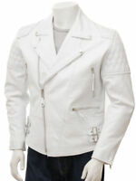 New Men Soft Lambskin White Motorcycle Biker Leather Jacket Cafe Racer Vest 755
