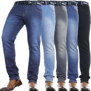 Mens Slim Leg Jeans Regular STRETCH Basic Denim Pants **Free Belt Included**