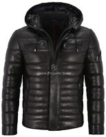 Mens Leather Jacket Puffer Hooded 100% Lambskin Fully Quilted Hoodie Jacket 2006