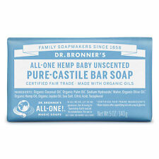 Dr Bronner's Baby Unscented Pure-Castile Bar Soap Vegan Natural