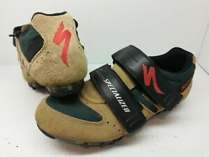 Specialized Sport Men's Size 8.5 Mountain Bike Shoes Suede Cycling Green Brown