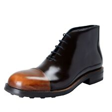 Prada Men's Brown Polished Leather Ankle Boots Shoes US 11.5 IT 10.5 EU 44.5