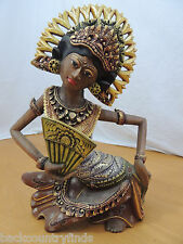 Indonesian Traditional Dancer Ornate Costume Balinese Headdress Wooden Figurine