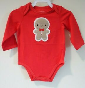 NWT Macy's First Impressions Gingerbread Man One Piece Shirt Boy's Size 3-6M