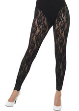 Ladies 1980s Black Lace Footless Tights
