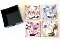 Shabby Ceramic Stiletto Shoes & Floral 4 Piece Coaster Set With Storage Box