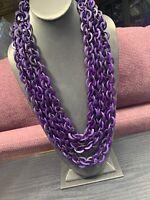 "Vintage Bohemian Bright Deep Purple Wood 3 Strand Beaded Necklace  Beads 30"""