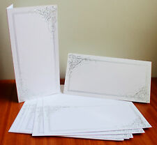 Kanban 10 Dl Lujo Plata Metalizado Elegante remolino blanco Boda Fiesta Tarjeta Blanks