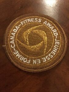 "Vintage Canada Fitness Award Sew On Embroidered Patch 3"" Bronze"