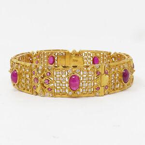 NYJEWEL Brand New 22k Yellow Gold 8ct Ruby W Stone Indian Wedding Bracelet
