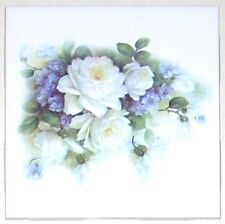 "White Sussex Rose Ceramic Tile 4.25"" Flower Kiln Fired Back Splash Accent"