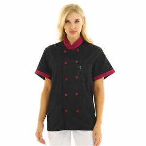 Unisex Chef Coat Double-Breast Short Sleeve Cook Jacket Kitchen Uniform Dress