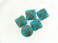 NOS US Artisan Turquoise Blue & Tan Raku Lentil Pillow Glass Lampwork Bead Set