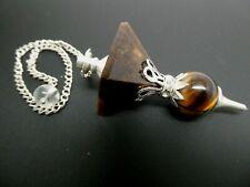 Natural Tigerseye Gemstone Inverted Pyramid Reiki Silver Tone Chain Pendulum