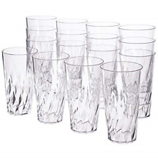 Drinking Tumbler Plastic Glasses Set Water Soda Tea Juice Cup 20 oz Clear 16pcs
