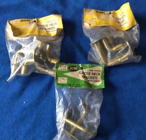 NOS 3 PKGS STANLEY-JUDD GOOSE NECK CURTAIN BRACKETS 2 DOUBLE & 1 SINGLE VINTAGE