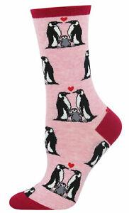 NEW Womens Ladies Fun Novelty Socks Penguin Love on Pink - Sock Size 9-11