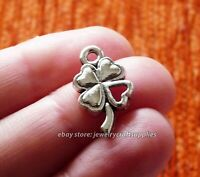 5Pcs Good Luck Charm 4 Leaf Heart Clover Pendants for Jewelry Making Silver tone