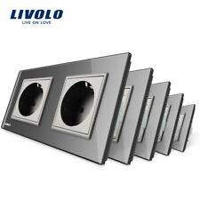 5PCS/Set Livolo EU Standard Double Plugs Power Socket in Gray Color