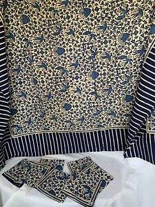 "Batik Tablecloth Handmade 98"" L X 60"" W Blue White Bird Movement & 8 Napkins"