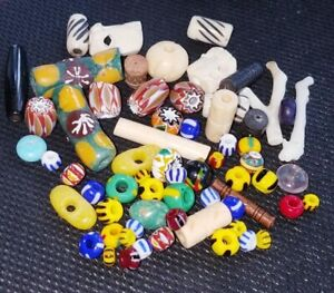 African Trade Beads Vintage Venetian Old Glass And Mixed Other