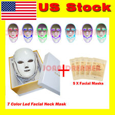 7 Colors LED Photon Light Therapy Facial& Neck Mask +Anti-aging Repair Face Mask