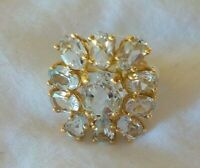 Estate 14K Yellow Gold Aquamarine Cluster Ring - 5.3 gms, Size 5.25, 3.50 ctw